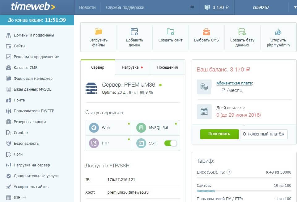 Панель виртуального хостинга Timeweb